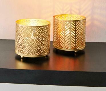"""2x Windlicht """" Gold"""" aus Metall mit Glas Einsatz, Kerzen Ständer Teelicht Halter"""