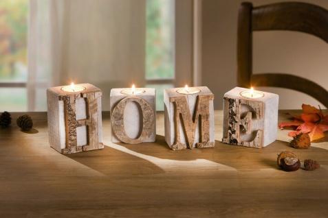 """4tlg. Teelicht Halter Set """" Home"""" aus Holz & Glas, Kerzen Ständer Windlicht - Vorschau 1"""