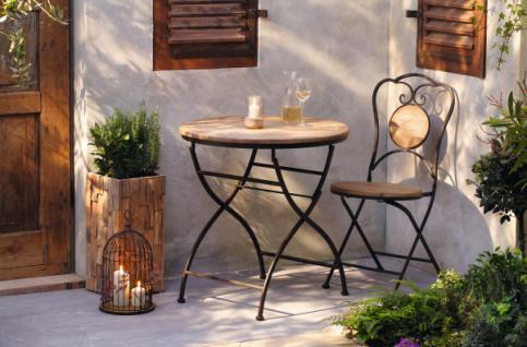 Garten Tisch aus Metall & Holz, Antik Design, Balkon Terrasse Klapp Möbel
