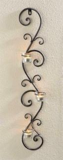 """Wand Kerzen Halter """" Ranke"""" aus Metall grau, 3 Windlicht Gläser, Teelicht Ständer"""