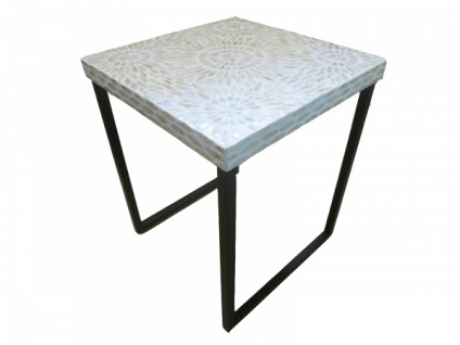 """Gilde Beistell Tisch """" Perla Fiore"""" Perlmutt Mosaik, creme, Couch Blumen Nacht"""