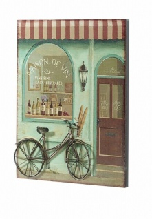 3D Wandbild aus Holz & Metall, Retro Weinstube Fahrrad, Wand Deko Bild Poster