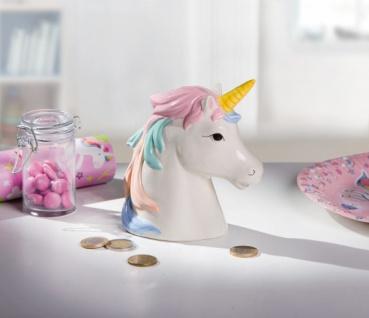 Spardose 'Einhorn Porzellan Tresor Sparbüchse Sparschwein Mini Safe Aufbewahrung
