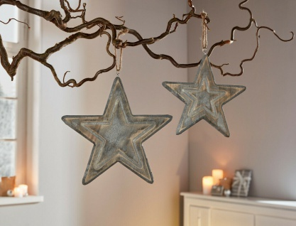 2 Sterne aus Holz, grau, Ø 25 + 20 cm, Shabby, Advents Weihnachts Deko Stern