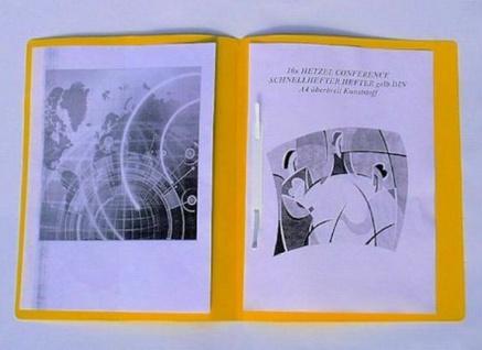 10 Stück Hetzel Conference Schnellhefter gelb, A4, überbreit, Kunstoff Hefter