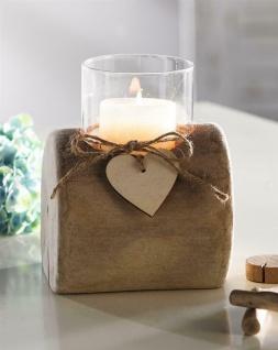 """Windlicht """" Herz-Deko"""" aus Treibholz & Glas, Holz Kerzen Ständer Teelicht Halter"""