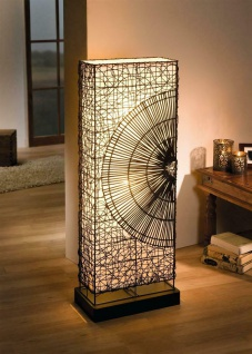 """Design Steh Lampe """" Sonne"""" aus Rattan & Metall, 110 cm hoch, Deko Stand Leuchte"""