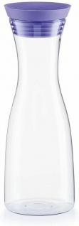 Zeller Glas Karaffe 1 Liter, klar / lila, Wasser Wein Flasche Dekanter Krug