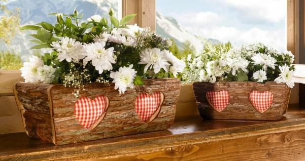 """2x Pflanz Kasten """" Rinde"""" aus Holz, braun, Landhaus rustikal, Blumen Topf Balkon"""