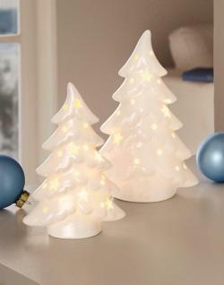 2 LED Tannen aus Porzellan hochglanz weiß, beleuchtet, Advents Weihnachts Deko