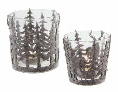 Windlicht Set aus Glas + Filz, Kerzen Teelicht Halter Ständer Winter Weihnachten - Vorschau 3