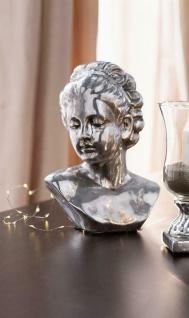 "Büste "" Madame"" aus Porzellan silber im Antik Design, Deko Statue Figur Frau Kopf"