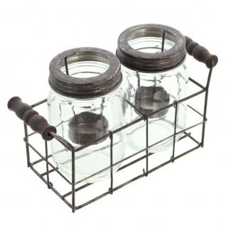 """3tlg Windlicht Set ?Einmachglas"""" Glas Kerzen Halter Ständer Teelicht Weihnachten"""