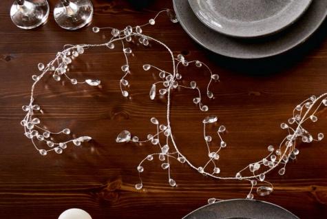 """Girlande """" Funkel Perle"""" Tisch & Wand Deko Kunststoff & Draht 180 cm lang silber"""