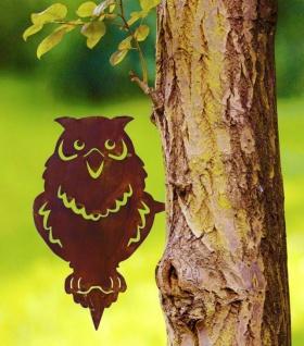 2 WENKO Baum Stecker aus Metall in Rost Optik Specht & Eule, Garten Deko Sticker - Vorschau 2