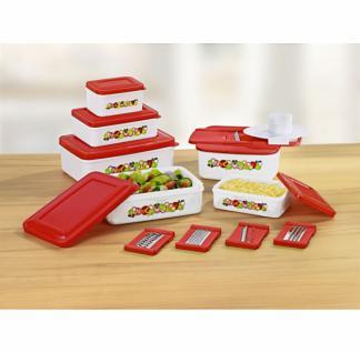 Frischhalte Dosen mit Multi Reibe Set Küchen Vorrats Aufbewahrungs Behälter