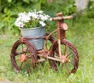 """Blumen Ständer """" Fahrrad"""" Weide, Pflanzen Korb Treppe Hocker Garten Deko Dreirad"""