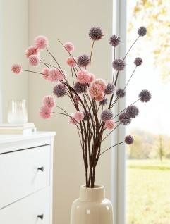 2 Deko Zweige Herbst Blüten rosa + lila, Kunst Blumen künstliche Pflanzen Bündel