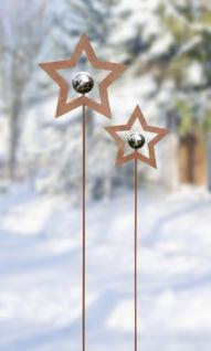 2er Garten Stecker 'Stern mit Kugel? Metall Rostoptik Blumen Deko Weihnachten
