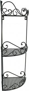 """Eckregal """" Ranken"""" aus Metall, schwarz, 3 Ebenen, Hänge Wand Stand Eck Regal - Vorschau 3"""