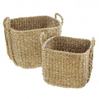 2 Universal Körbe aus Seegras Wäsche Korb Übertopf Aufbewahrungs Kiste Truhe Set - Vorschau 2
