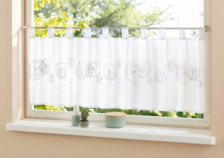 Fenstervorhang 'Kreise? 140x48cm Deko Schal Vorhang Schlaufen Küchenvorhang Kurz