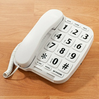 Großtasten Telefon für Senioren mit optischem Anruf Signal, Hörgeräte kompatibel