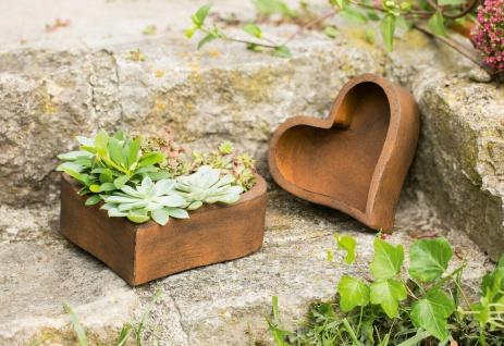"""2er Set Pflanzer ?Rostherz"""" Metall Pflanz Blumen Kasten Schale Korb Topf Garten - Vorschau 2"""