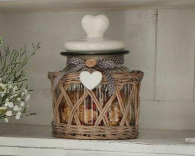 BONBONNIERE Lovely Cottage 2tlg. GLAS & WEIDEKORB BONBONGLAS DECKELDOSE LANDHAUS