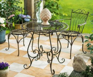 3 tlg. Bistro Set Tisch & 2 Stühle Metall in Antik Optik, Garten Balkon Möbel