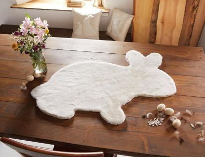 Kunst Fell Teppich in Hasen Form weiß, 90 x 68 cm, Tisch Deko Läufer Boden Matte