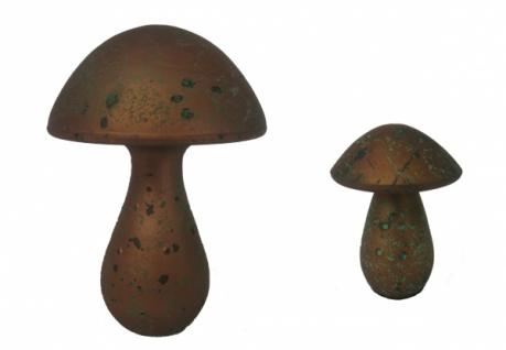 "Gilde 2er Set Design Pilz "" Drop"" bronze / grün, Keramik, Deko Skulptur Figur"
