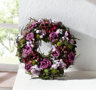 """Kranz """" Lila Rose"""" aus Natur Materialien + Textil Blüten, Hochzeit Tisch Deko"""