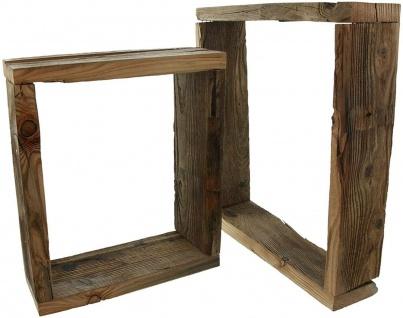 2 Wand Regale aus recyceltem Paletten Holz, Board Rahmen Würfel Shabby Vintage - Vorschau 5