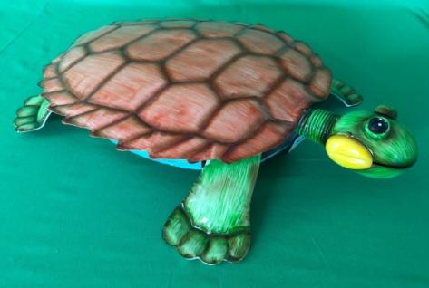 riesige Schildkröte aus Metall, bunt, orange / türkis Garten Deko Figur Skulptur