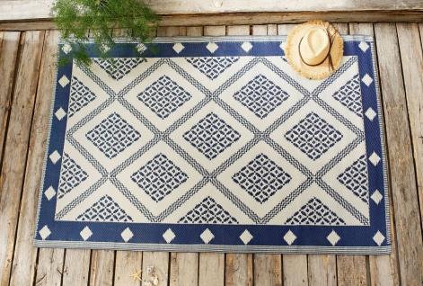 Outdoor Teppich beige blau 120x180 cm Sisal Optik, wetterfest, Kunststoff Balkon