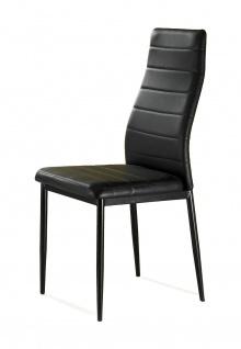 TOMASUCCI 2er Set Design Stühle CAMARO, PU Leder schwarz, Esszimmer Küchen Stuhl