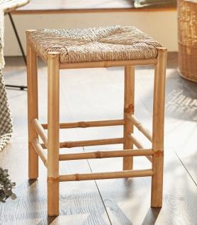 Bambus Hocker Natur, stabil, mit geflochtenem Seegras, Fuß & Pflanzen Holz Bank