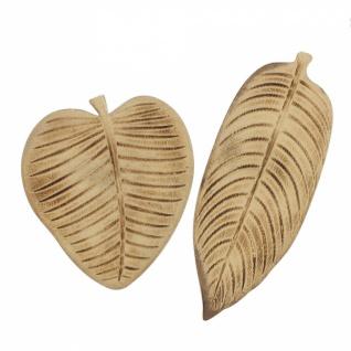 2er Set Deko Schale 'Blatt? aus Holz Obst Gebäck Brot Deko Tisch Servier