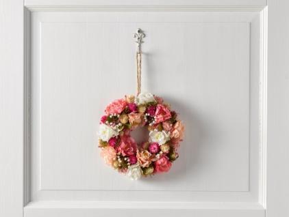 Deko Kranz 'Rosenpracht? Ø 23 cm Wand Tür Hänger Verzierung Frühling Blumen