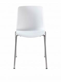 """2 er Set Stühle """" Vesper 1"""" von COLOS, weiß / chrom, Schalen Stapel Küchen Stuhl"""