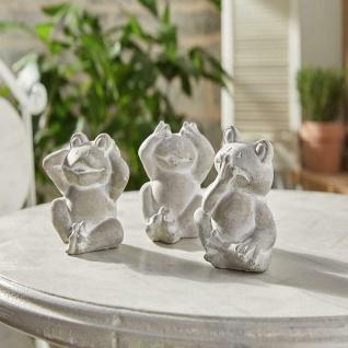 """3 Frosch Figuren """" Nichts hören, nichts sehen, nichts sagen"""", Garten Deko"""