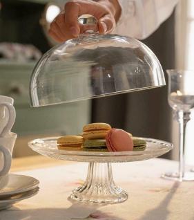 """Servier Platte """" Kristall"""" mit Glocke & Fuß, 20x19 cm, Speise Glocke Glas Haube"""