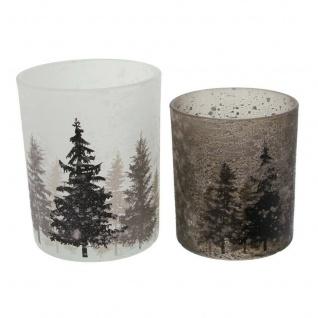 """2er Windlicht ?Schneegestöber"""" Glas Kerzen Halter Ständer Teelicht Weihnachten - Vorschau 3"""