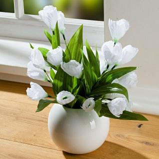 Krokus Bouquet weiß, 36 cm hoch, Kunst Blumen Strauss, künstliche Pflanzen