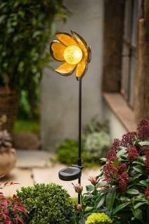 """Metall Garten Stecker """" Blume"""" Rost Optik mit Solar LED Kugel Deko Stab Leuchte"""