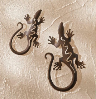 2er Set Deko Gecko, Metall, Rost Optik, Salamander Eidechse Wand Hänger Figur