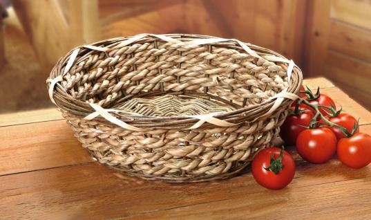 """Schale """" Strohgeflecht"""" aus Stroh & Weide Ø 27x8 cm Obst Brot Servier Flecht Korb"""