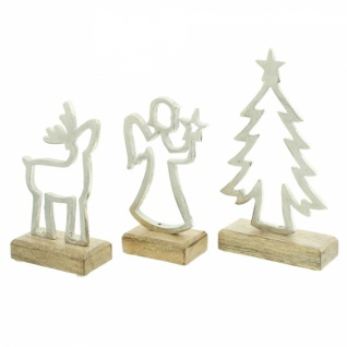 3er Set Winterdeko 'Mangoholz? Holz Deko Figur Weihnachten Engel Tanne Elch - Vorschau 2