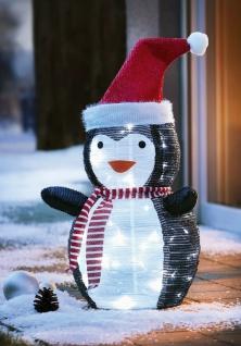 Pinguin mit LED Beleuchtung 70 cm hoch, Batterie betrieben, Garten Aussen Deko - Vorschau 1